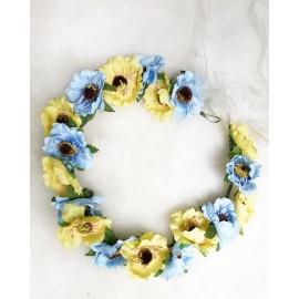Blomsterkrans - Gul och blå