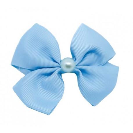 Ljusblå - Maj Pärla Rosett Hårklämma