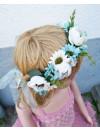 Blomsterkrans - Creme och blå