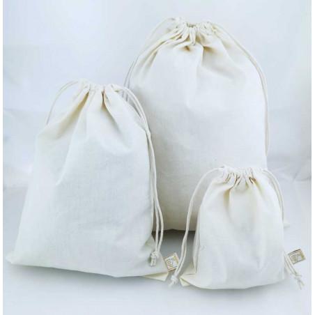 Tygpåse med dragsko - Ofärgad bomull