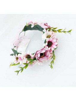 Blomsterkrans - Creme och rosa